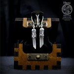 Slavic God Svantevit Silver Earrings with Mountain Crystal