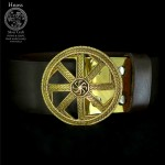 Leather Belt with Slavic Kolovrat Brass Buckle