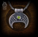 Silver Lunula Necklaces with Slavic Ornaments &  Peridot & Chain