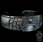 BIG Lunula Hand-Made Silver Bracelet with Slavic Ornaments