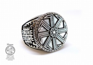 Big Silver Kolovrat Ring with Slavic Ornaments