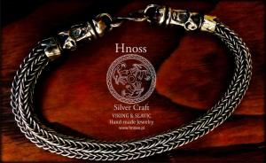 Viking Knit Silver  Bracelet with Svantevit Slavic God Heads