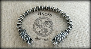 "Silver & Gold  Bracelet with ""Fenrir"" Wolf Heads"