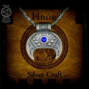 Silver Lunula Necklaces with Slavic Ornaments & Lapis Lazuli