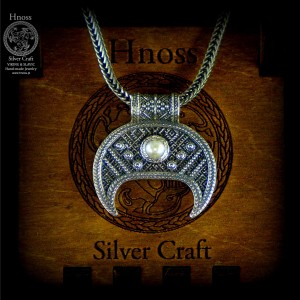 Silver Lunula Necklaces with Slavic Ornaments & Pearl & Chain