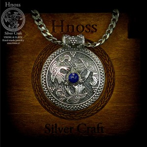 Silver Ravens Triskelion Necklace with Lapis & Viking Chain
