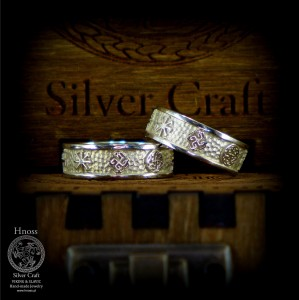 Gold Wedding Rings  with Slavic Ornaments