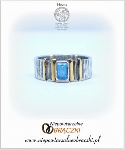 "Silver ""Yvonne's Ring""  with Gold & Topaz"