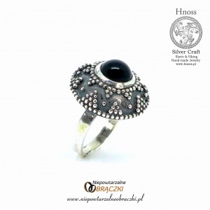Great Moravian Silver Slavic Ring (I) - IX/X AD with Onyx