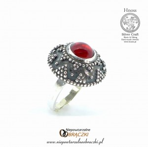 Great Moravian Silver Slavic Ring (I) - IX/X AD with Garnet