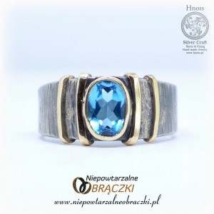 "Silver ""Deep Blue"" Ring with Gold and Topaz"