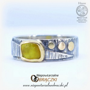 Silver and Gold Ring with Amber