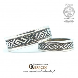 Silver Wedding Rings with Baltic Ornaments
