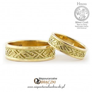 Gold  Wedding Rings with Baltic Ornaments