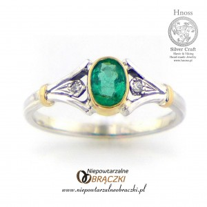 Silver and Gold Ring with Emerald and Diamonds