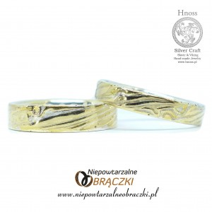 Mokume Gane Wedding Rings - Gloss Gold & Satin Silver