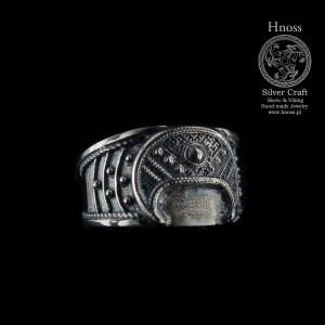 BIG Lunula Silver Hand-Made Ring with Slavic Ornaments