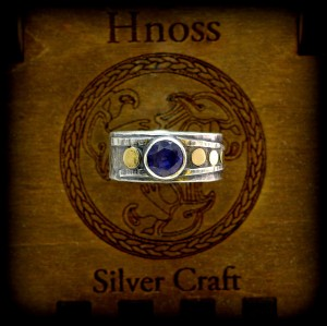 "Silver ""Agnes Ring""  Ring with Gold and Iolite Gemstone"