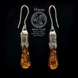 Svantevit Amulet Earrings with Baltic Amber