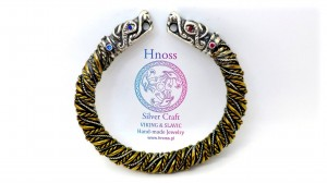 "Special Handmade twisted Silver & Brass wires bracelet with Silver ""Fenfir"" wolf heads"